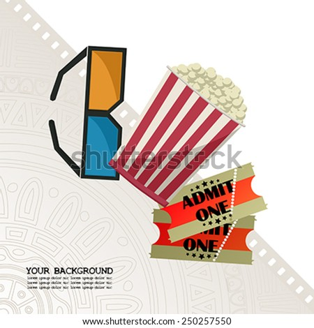 Movie night template with copy space, glasses, pop corn and tickets. - stock vector