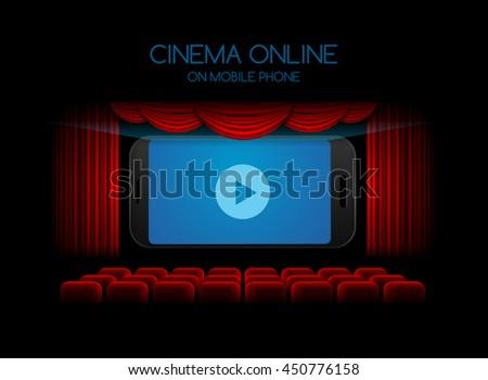 movie online mobile phone;cinema ,theater - stock vector