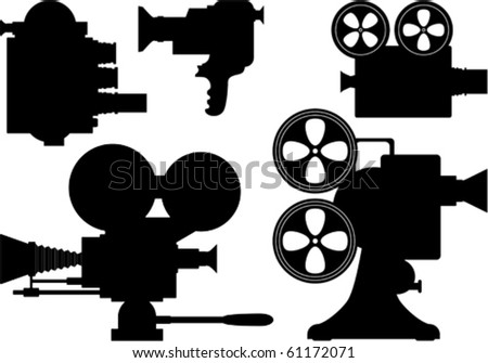Movie or television film camera collection - stock vector