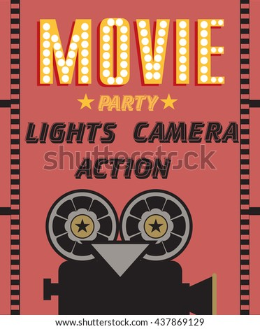 Movie party hollywood party invitation card stock vector 437869129 hollywood party invitation card stopboris Gallery