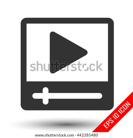 Movie player icon. Video player for web. Simple flat logo of movie player isolated on white background. Vector illustration. - stock vector
