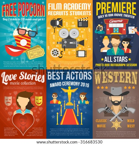 Movie premiere mini promo poster templates set isolated vector illustration - stock vector