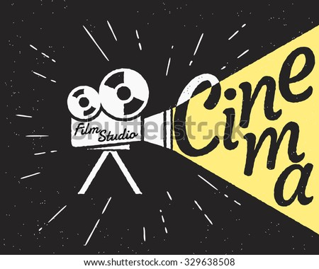 Movie projector with yellow light and cinema letters. Retro stylized illustration on black background with grunge texture - stock vector