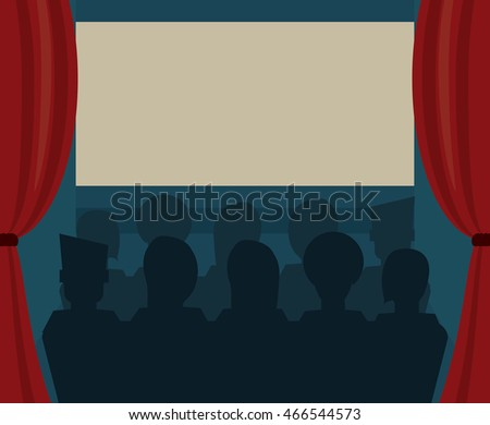 movie room silhouette people presentation film going to cinema icon. Colorful illustration. Vector graphic
