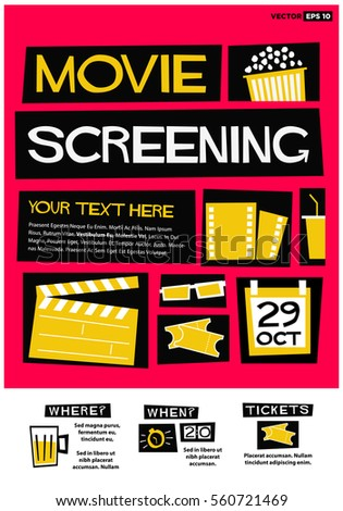 Movie screening event poster flat style stock vector hd royalty movie screening event poster flat style vector illustration quote design invitation with venue and stopboris Gallery