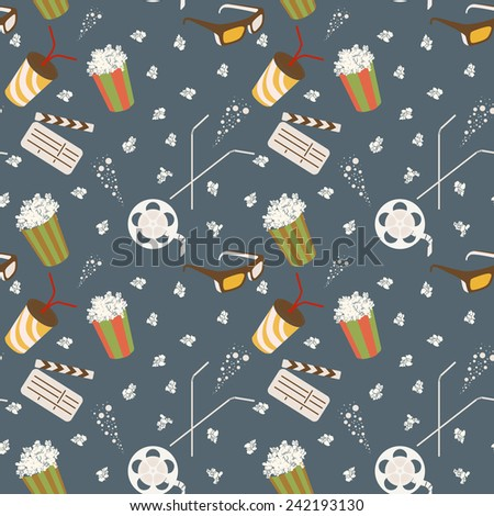 Movie seamless vector pattern - stock vector