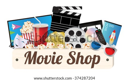Movie shop wood board with pop corn film cd disc dvd movie box smart television film remote ticket emotion mask 3d glasses - stock vector