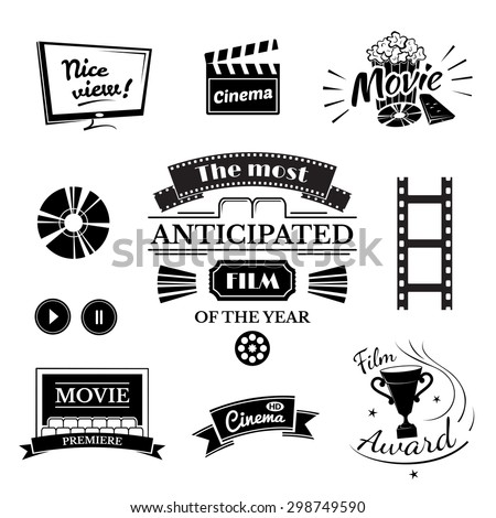 Movie signs set, cinema logos and film labels - stock vector