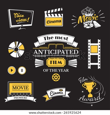 Movie signs set, cinema logos and film labels on black background - stock vector
