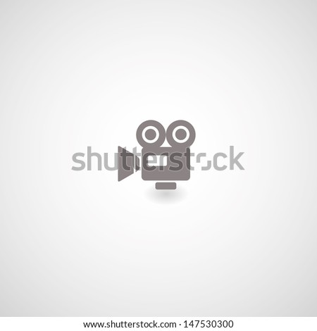 movie symbol on gray background - stock vector