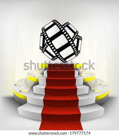 movie tape roll exhibition on round illuminated podium vector illustration - stock vector