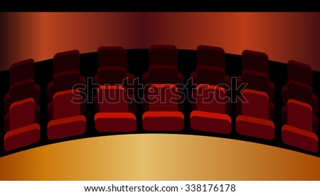 Movie theater, opera house, performing art hall center, music concert, school auditorium stage. Red velvet chair seat objects. Decorating spotlight effect background.