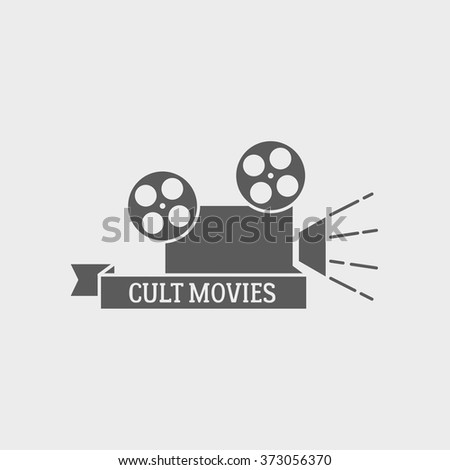 Movie theater vector logo, badge or label design template with film camera and cult movies title. - stock vector
