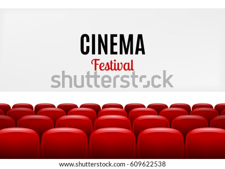 Movie theater with row of red seats. Premiere event template. Super Show design. Presentation cinema festival.