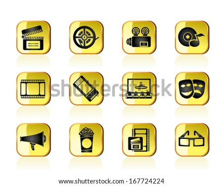 Movie theatre and cinema icons - vector icon set