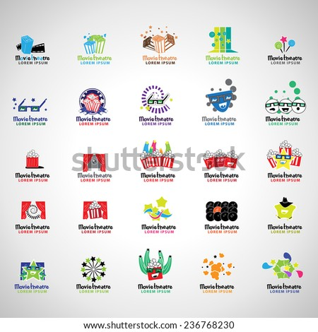 Movie Theatre Icons Set - Isolated On Gray Background - Vector Illustration, Graphic Design Editable For Your Design  - stock vector