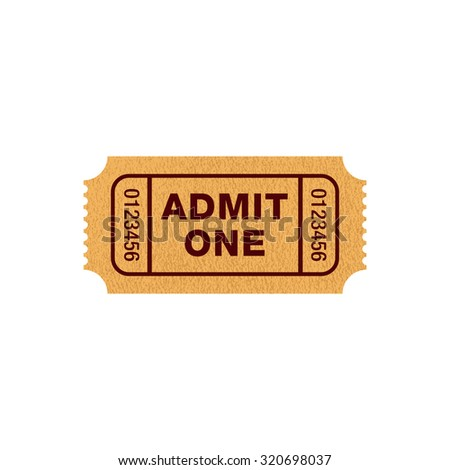 Movie ticket, admit one, vector illustration