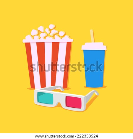Movie time. Movie showing with Popcorn and drinks / 3D Stereo Glasses - stock vector