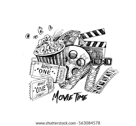 Movie time poster, Hand Drawn Sketch Vector illustration.