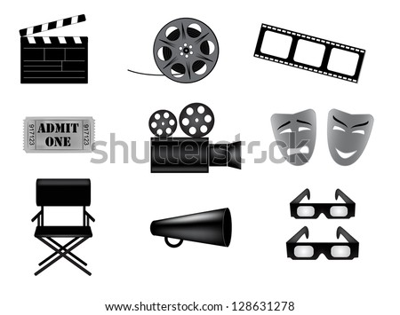 movie vector icons set - stock vector