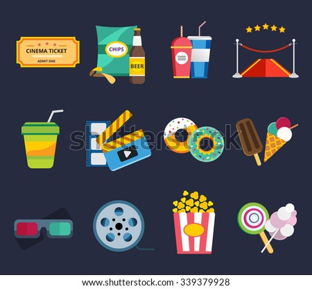 Movie vector icons set. Movie icons isolated, movie food and drinks. Clapboard, tickets film, cakes and drinks vector icons. Ice cream, glasses, chips, beer. Cinema movie icons, cinema vector 3d logo - stock vector