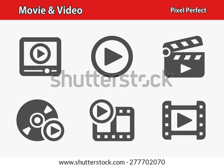 Movie & Video Icons. Professional, pixel perfect icons optimized for both large and small resolutions. EPS 8 format. Designed at 32 x 32 pixels. - stock vector