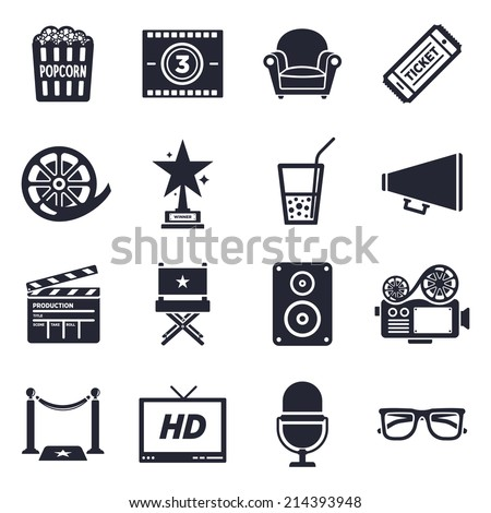 Movies and events theme, black and white icons. - stock vector
