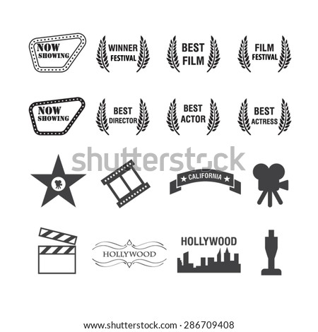 Movies and Film icons set,Vector - stock vector
