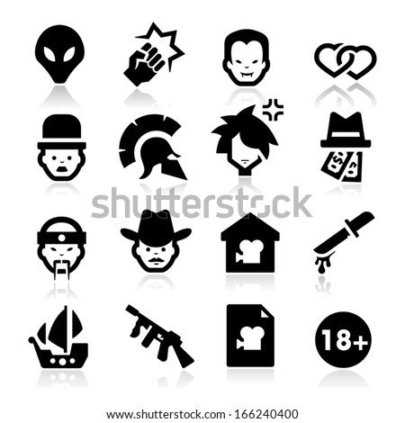 Movies Genres Icons - stock vector