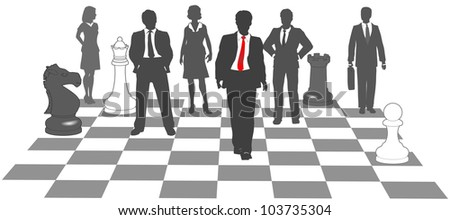 Moving business man leads team to win as pieces on chess board - stock vector