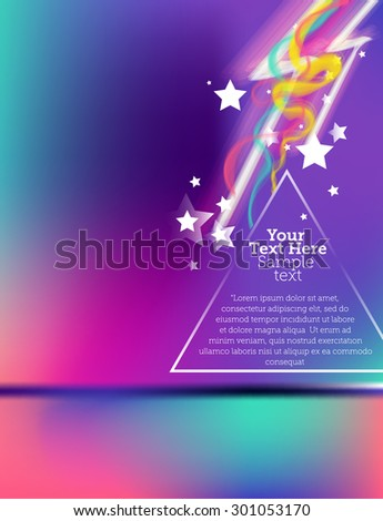 Moving colorful abstract background with stars and triangles - stock vector