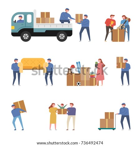 Moving day. Employees and families carrying moving boxes. vector illustration flat design