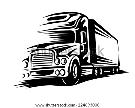 Moving delivery truck on road for transportation design. Vector illustration - stock vector