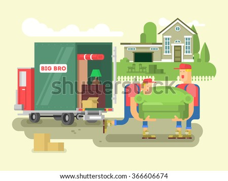 Moving design flat - stock vector