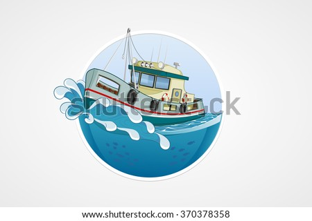 Moving fishing boat. Deep sea with wave. Round vector computer icons for applications or games. Logo and emblem template. Handdrawn Illustration - stock vector