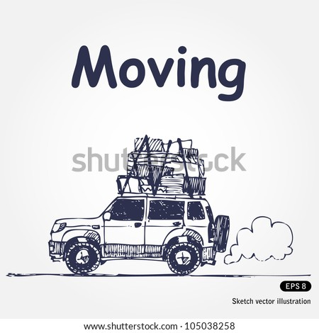 Moving. Hand drawn sketch illustration isolated on white background - stock vector