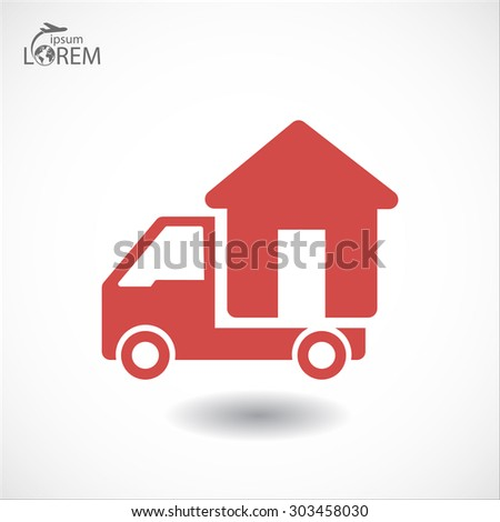 Moving home concept. A truck transporting a house.  icon. Vector - stock vector
