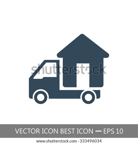 Moving home concept. A truck transporting a house icon. Vector. - stock vector