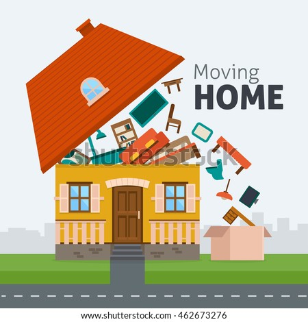 Moving home family moving out house stock vector 462673276 for Moving home pictures