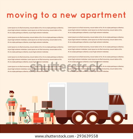 moving into a new apartment man loading things into the truck a bunch of things flat style. Black Bedroom Furniture Sets. Home Design Ideas