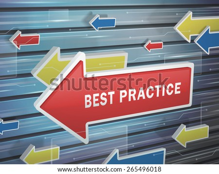 moving red arrow of best practice words on abstract high-tech background - stock vector