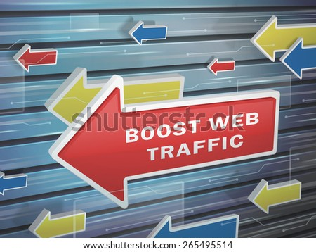 moving red arrow of boost web traffic words on abstract high-tech background - stock vector