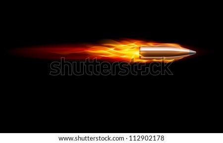 Moving Red Fiery Gun Bullet Shot. Illustration on black - stock vector