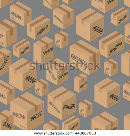 Moving seamless pattern. Lot of cardboard boxes background. Paper packaging for things. - stock vector
