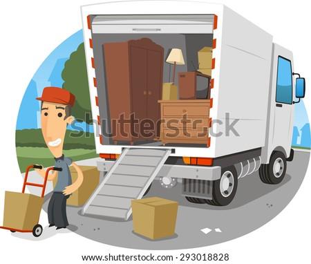 moving truck vector cartoon illustration - stock vector