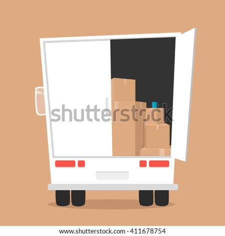 Moving with boxes. Transport company - stock vector