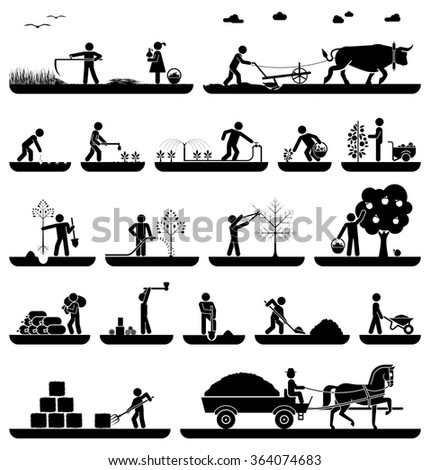 Mowing, plowing, planting, watering, pruning trees, digging, chopping wood, baling hay, collecting crops, transporting with horse drawn wagon. Agriculture icons.