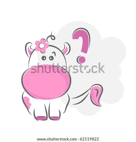 Moxy Patty the cow confused, vector. - stock vector