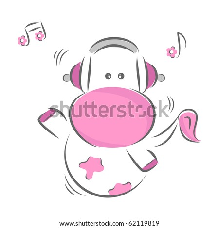 Moxy Patty the Cow enjoying music, vector. - stock vector