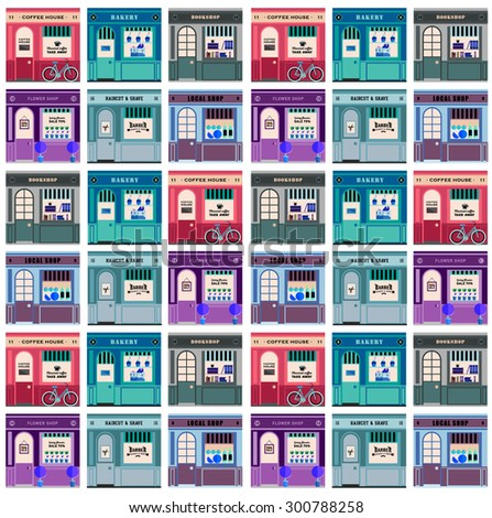 Mozaic, puzzle .Vector flat  illustration on multiple small shop and store facades. Different small business stores and shops. Barber, flowers, local shops, coffee house, cafe. Food store. Pattern - stock vector